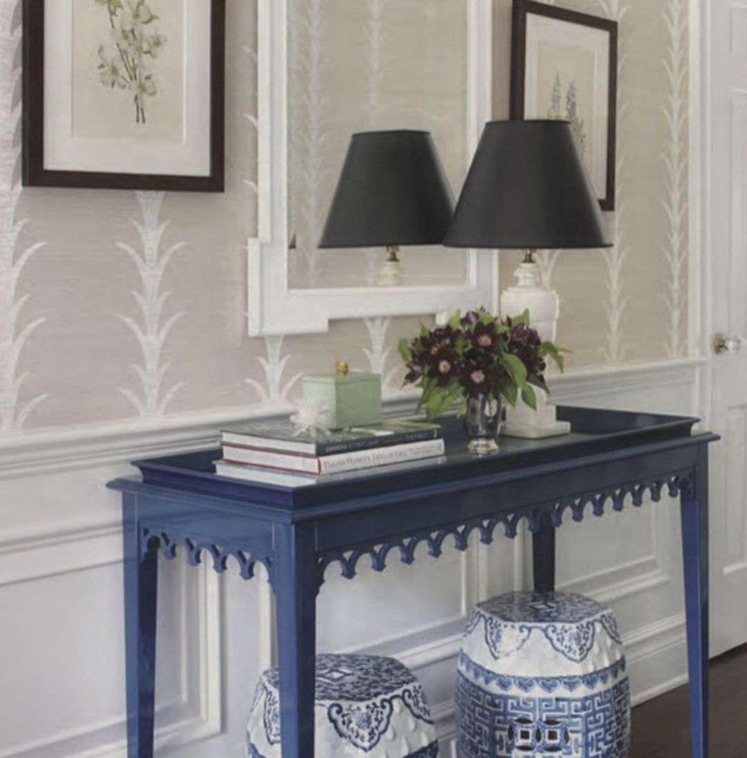 White Decor Accents with Blue Tables