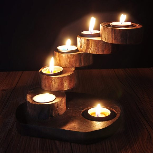 Wood Tray & Candles