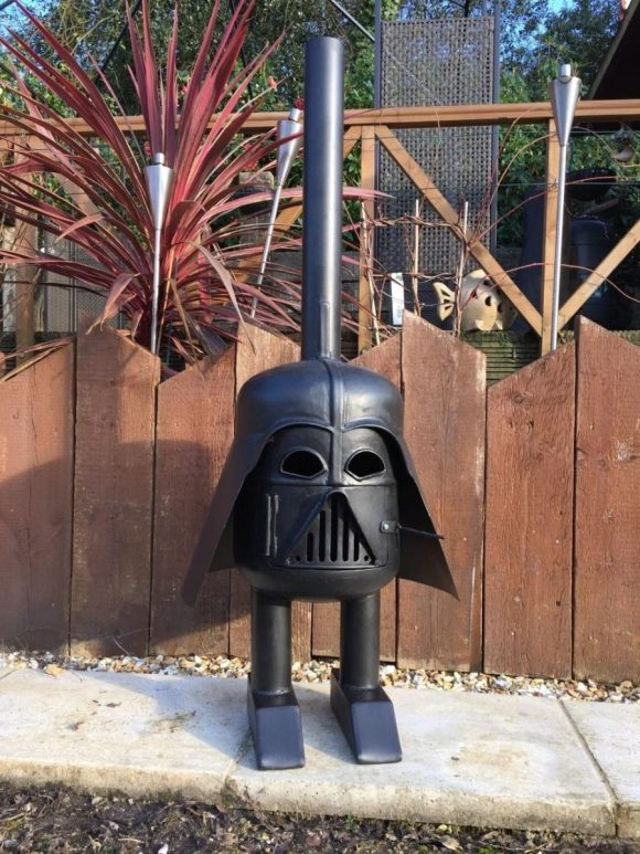 Custom Your Chiminea Outdoor Fireplace with Darth Vader