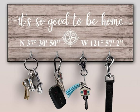 Personalized Wall Key Hook with Coordinates