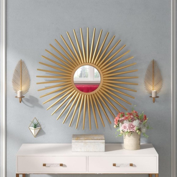 Golden Sunburst Wall Entryway Mirror
