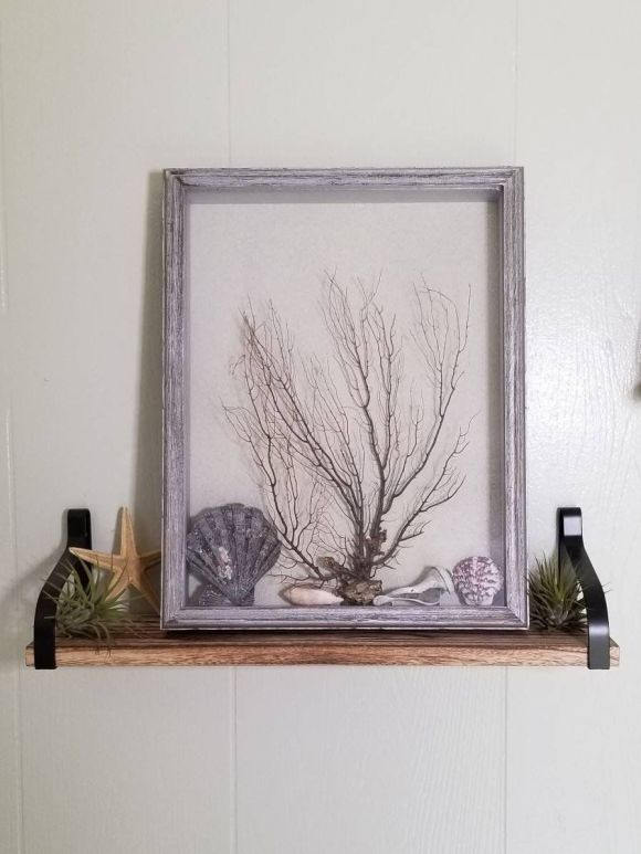 rustic coastal shadow boxes from old picture frame