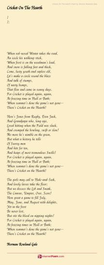 cricket hearth poem norman