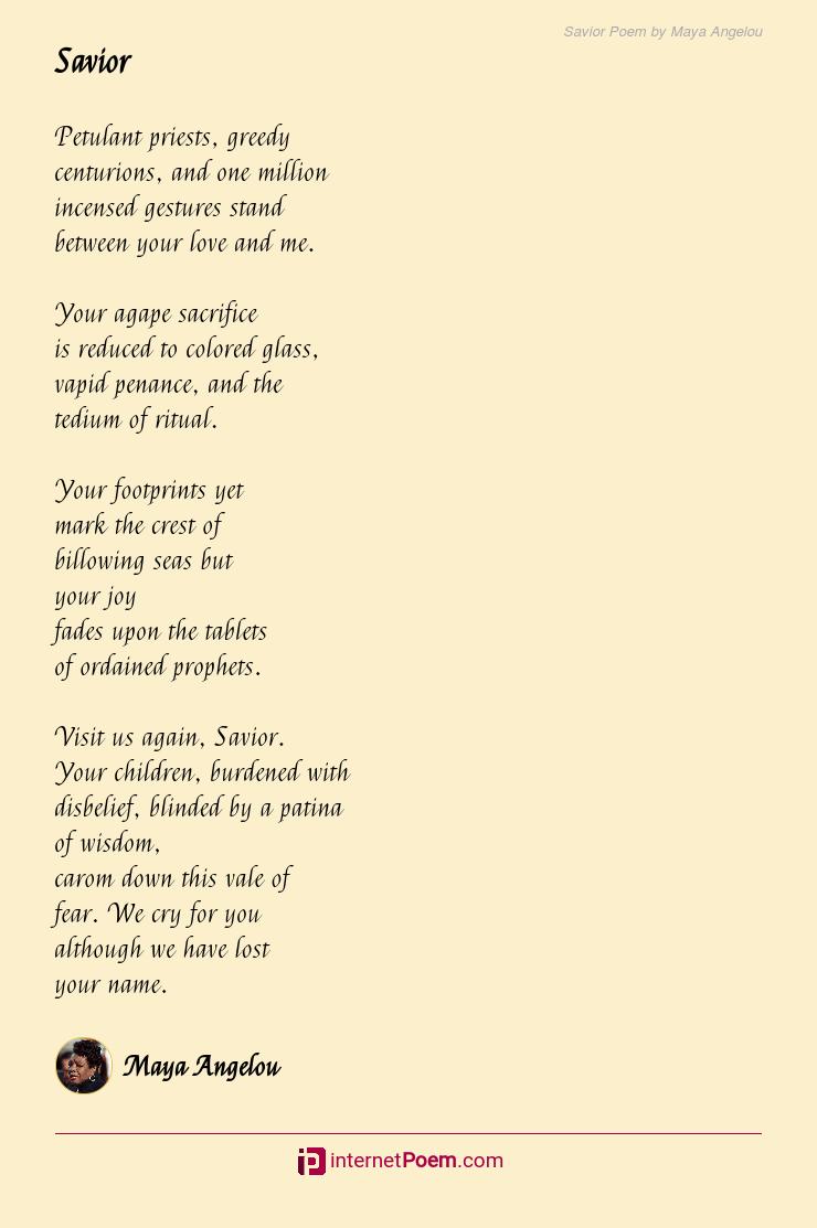 Maya Angelou Love Poems : angelou, poems, Savior, Angelou