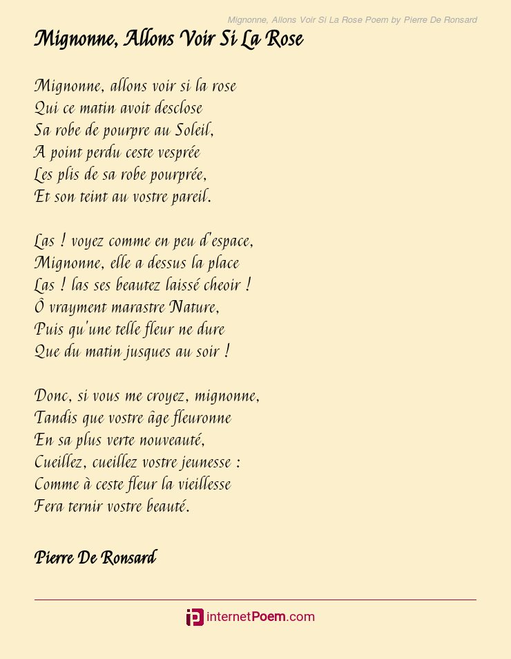 Mignonne, allons voir si la rose...| Poème de Pierre de