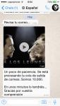 Whatsapp recibido anunciando la beta de El Español