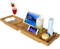Wood Bathtub Caddy, Bamboo Shower Bath Tub Tray Organizer ...