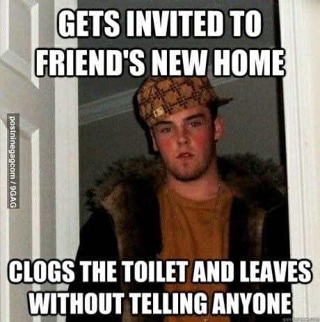 Scumbag Steve Meme clogs toilet