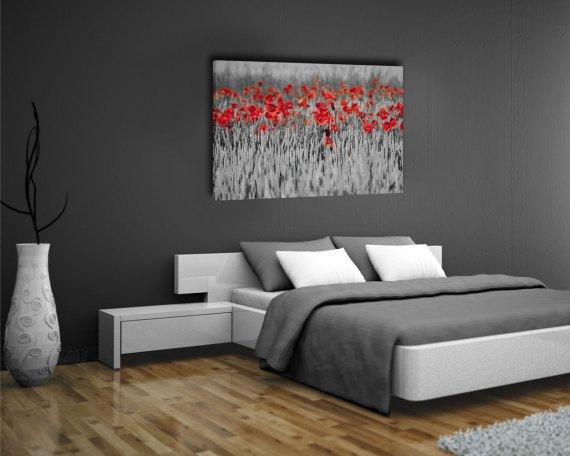 Stampa su tela-un campo di papaveri rossi