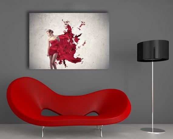Stampa su tela - donna in rosso