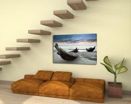 stampa su tela-barche di pescatori sulla sabbia