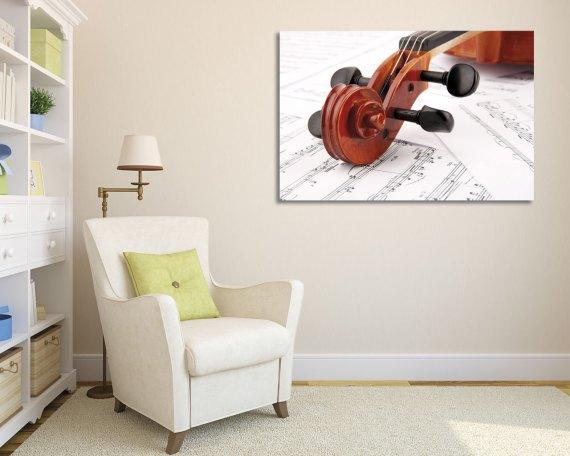 stampa su tela-violino su spartiti
