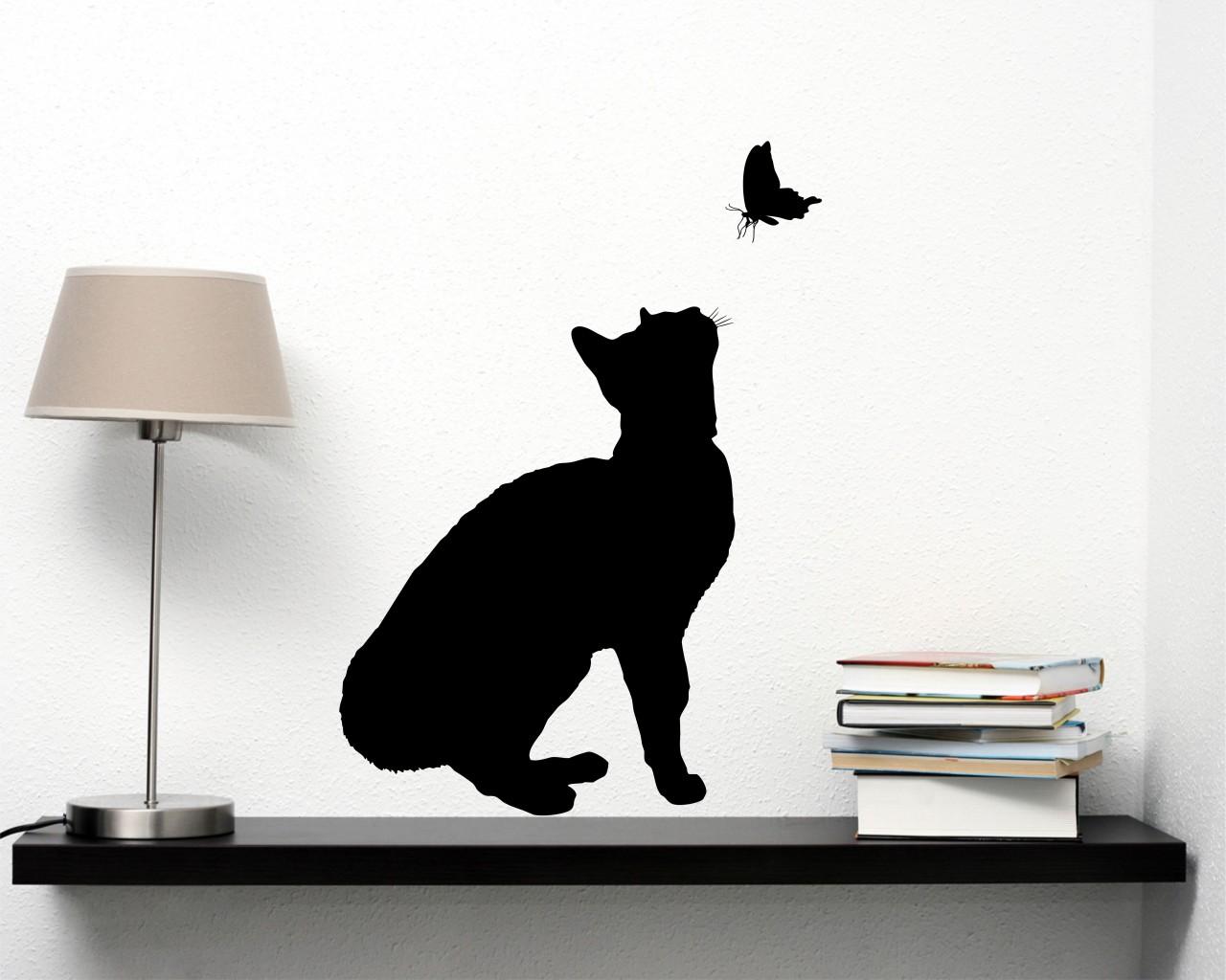 Adesivi Murali Con Gatti.Gatto Con Farfalla Animali Adesivo Murale