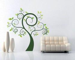 adesivo murale-albero verde