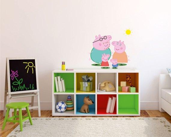 adesivo murale-peppa pig family