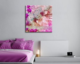 stampa su tela-farfalle vintage e orchidee