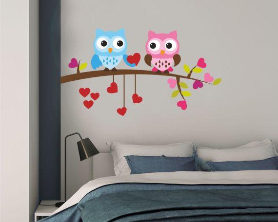 gufi con cuori-adesivo murale