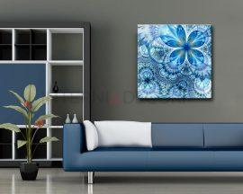 Astratto floreale blu-stampa su tela