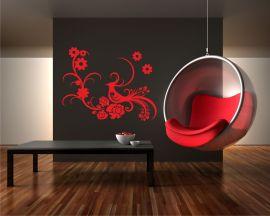 adesivo murale-elegante pavone tra fiori