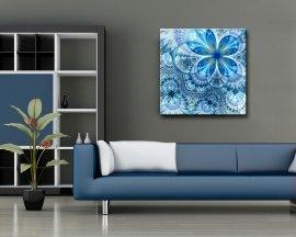 Stampa su tela-astratto floreale blu