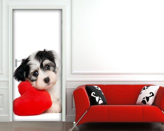Adesivo per porte-tenero cagnolino