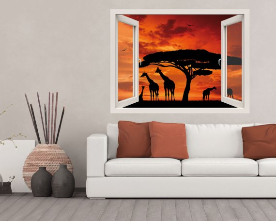 Finestra adesiva-vista sulla savana