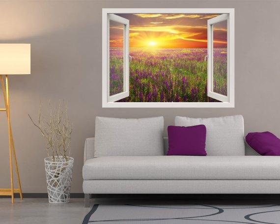 Finestra adesiva-tramonto sui fiori