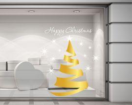 Adesivo per vetrine-Albero di Natale con stelle