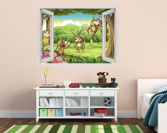 Finestra adesiva-scimmiette nella giungla
