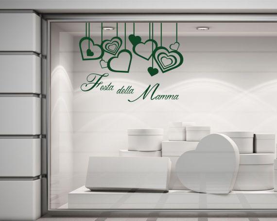 Adesivo per vetrine-Festa della mamma con cuori