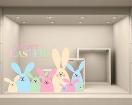 Adesivo per vetrine-coniglietti colorati