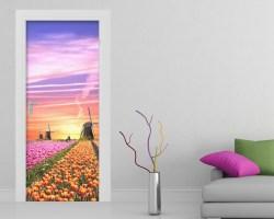 Adesivo per porte-mulini a vento e tulipani