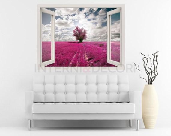 Finestra illusione-Nuvole sul campo di lavanda