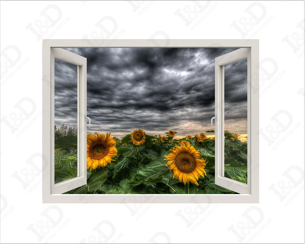 Adesivo da parete in 3D con vista su campo di girasoli ideale per decorazione della casa