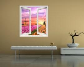 Finestra illusione-vista sui tulipani