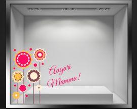 Adesivo per vetrina-Auguri con fiori