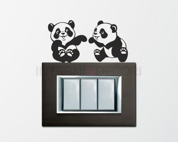 Mini sticker murale-panda giocherelloni