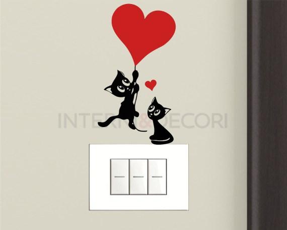 Mini sticker murale-gattini con palloncino