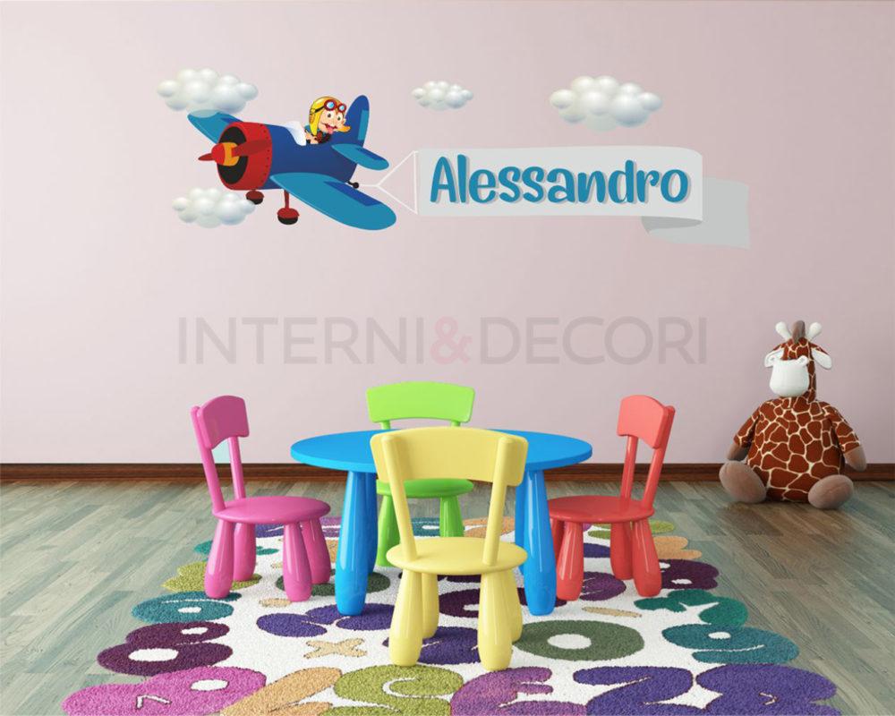 Seleziona la decorazione che preferisci e componi il nome del tuo bambino. Adesivo Bambini Aereo Nel Cielo Adesivo Murale Con Nome Interni Decori Adesivi Murali Wall Stickers E Quadri Moderni