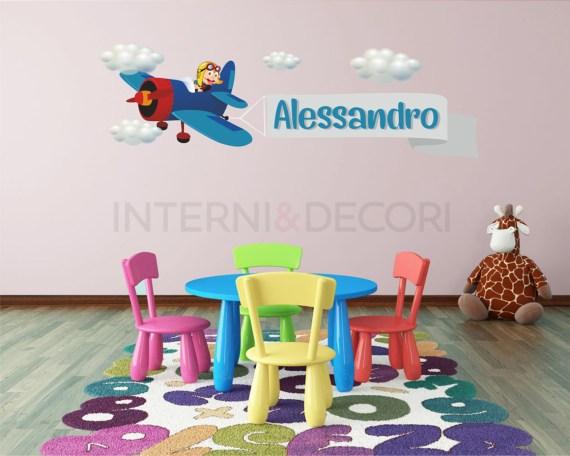 Adesivo murale con nome-adesivo aeroplano per bambini