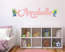 Adesivo murale con nome-Due tenere puffette-adesivo da parete puffi