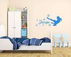 adesivo murale con nome-acrobazie in campo-Adesivo da parete calcio