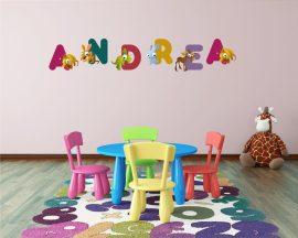 """Adesivo murale con nome-lettere adesive da muro """"alfabeto con animali"""""""