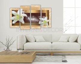 Stampa su tela-Lilium su sfondo dorato-quadro moderno