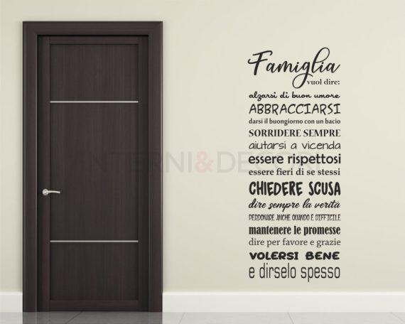 Adesivo murale-famiglia vuol dire-frasi-adesivo da parete