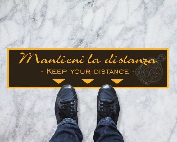 Adesivi per pavimento-mantieni la distanza-segnaletica covid19