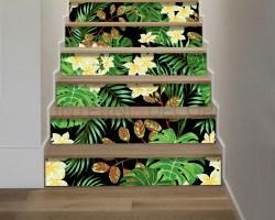 Decorazione per scale-piante tropicali-adesivo per scale