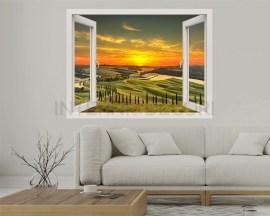 Finestra illusione-tramonto toscano-adesivo murale finestra