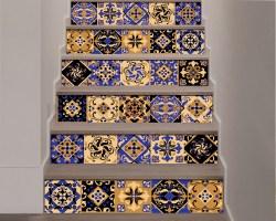 Decorazione per scale-gold and blue stairs-adesivo per scale