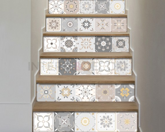 Decorazione per scale-gradazioni di tortora n.2-adesivo per scale